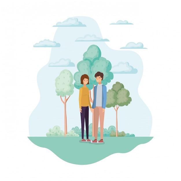 Mulher e homem no parque Vetor grátis