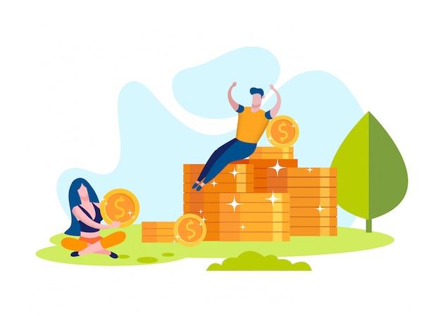 Mulher e homem se alegrar ganhou dinheiro. moedas na grama Vetor Premium