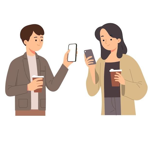 Mulher e homem segurando café enquanto olham para o telefone verificam as redes sociais Vetor grátis