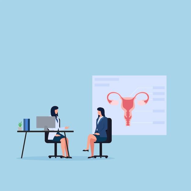 Mulher e médico conversam sobre ginecologia. Vetor Premium