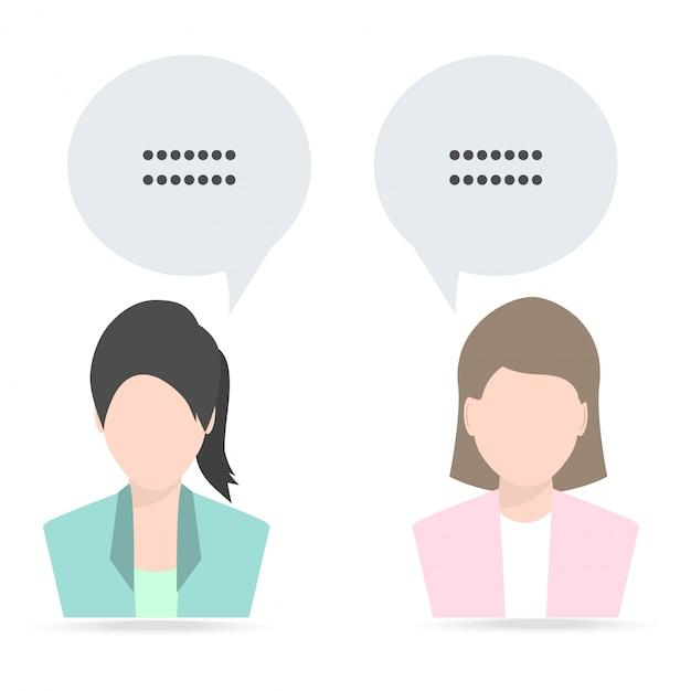 Mulher e mulher com fala Vetor Premium