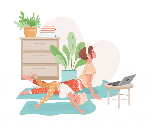 Mulher e sua filha fazendo ioga, pilates ou alongamento juntos em casa com vídeo aulas de ilustração plana. Vetor Premium