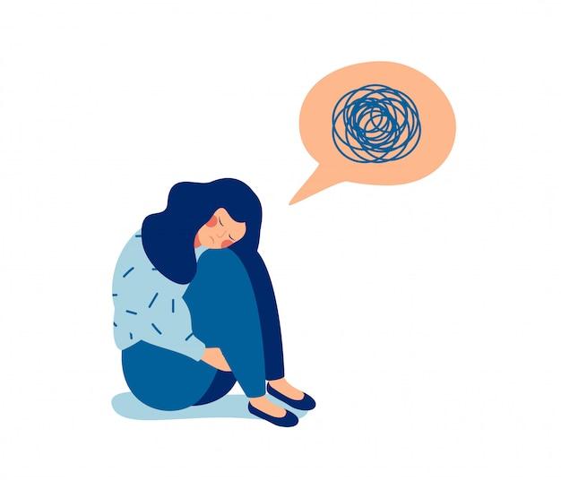 Mulher, em, depressão, com, desnorteado, pensamentos, em, dela, mente Vetor Premium