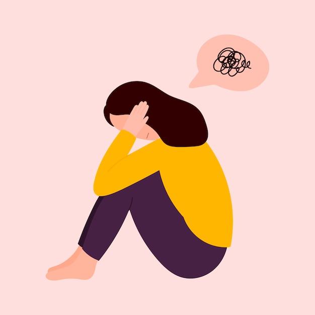 Mulher em depressão sentada no chão Vetor Premium