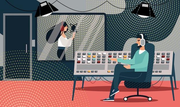 Mulher em fones de ouvido cantar música no estúdio de gravação Vetor Premium