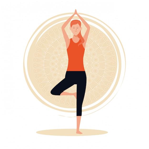 Mulher, em, ioga posa Vetor Premium