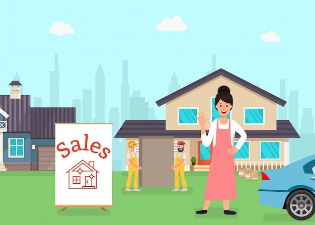 Mulher em pé na frente da casa à venda, trabalhadores Vetor Premium