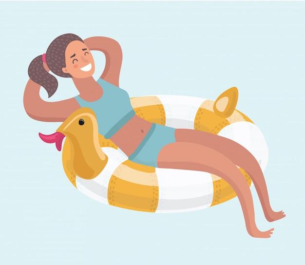Mulher em um anel de borracha na piscina. . ilustração Vetor Premium