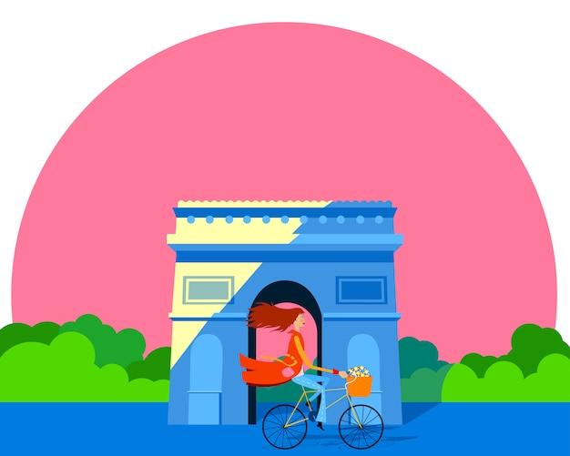Mulher em uma bicicleta em frente ao arco do triunfo. cartão para o dia das mulheres Vetor Premium