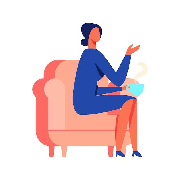 Mulher, em, vestido azul, sentando Vetor Premium