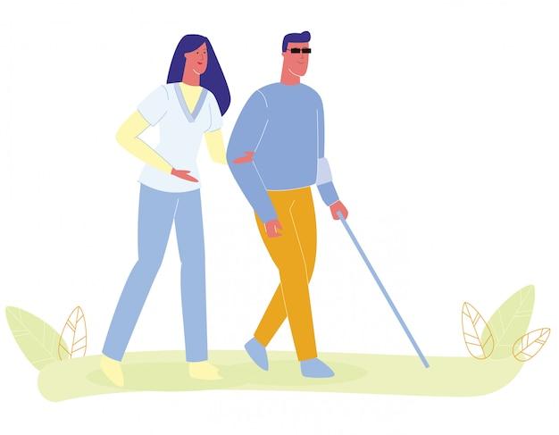 Mulher, enfermeira, ajudando, cego, andar homem, com, cana Vetor Premium