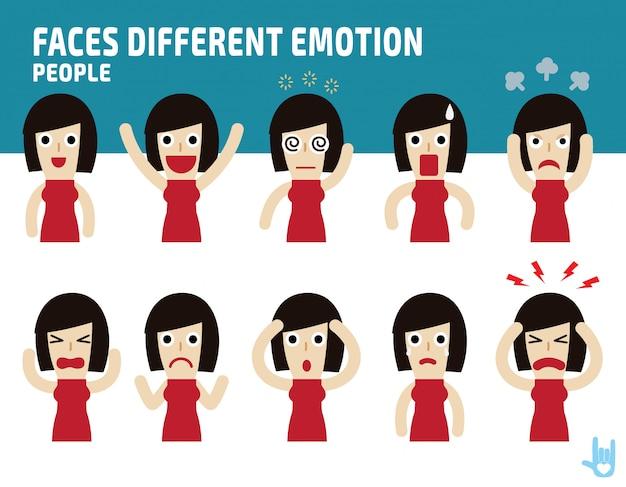 Mulher enfrenta apresentando emoções diferentes. Vetor Premium