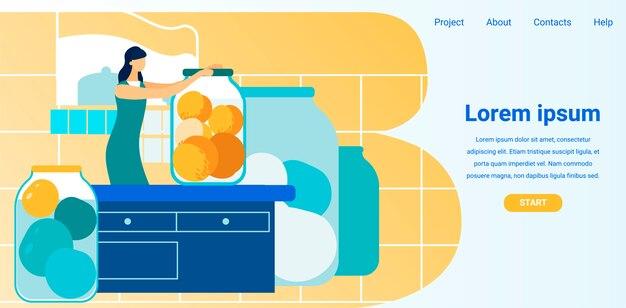 Mulher enlatou frutas em frascos de vidro. site da tela. Vetor Premium