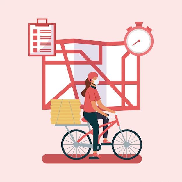 Mulher entrega com máscara bicicleta mapa e caixas de design Vetor Premium
