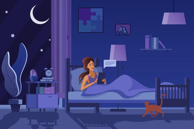 Mulher enviando mensagens no quarto escuro, mensagens de texto à noite. conceito de insônia feminina, insônia Vetor Premium