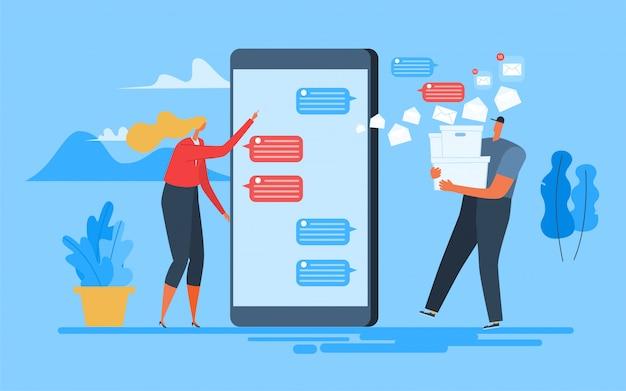 Mulher enviar aplicativos móveis de texto. Vetor Premium