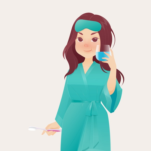 Mulher, enxaguar, e, gargarejo, enquanto, usando, mouthwash Vetor Premium