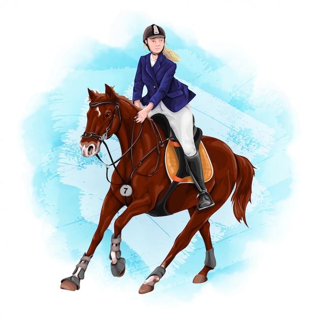 Mulher equitação. esporte equestre. Vetor Premium