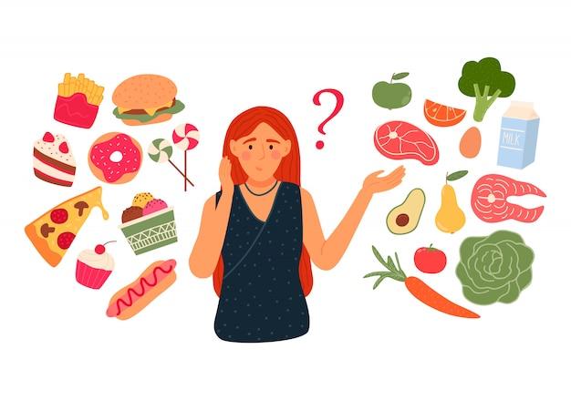 Mulher escolhe entre fast-food e comida saudável ao vivo. conceito de dieta. Vetor Premium