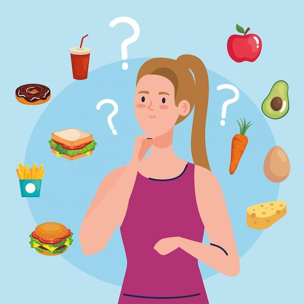 Mulher escolhendo entre alimentos saudáveis e insalubres, fast food vs menu equilibrado Vetor Premium
