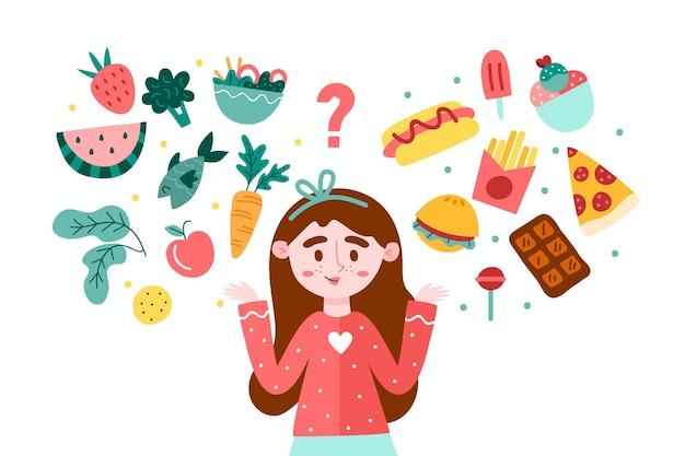 Mulher escolhendo entre alimentos saudáveis ou não saudáveis Vetor grátis