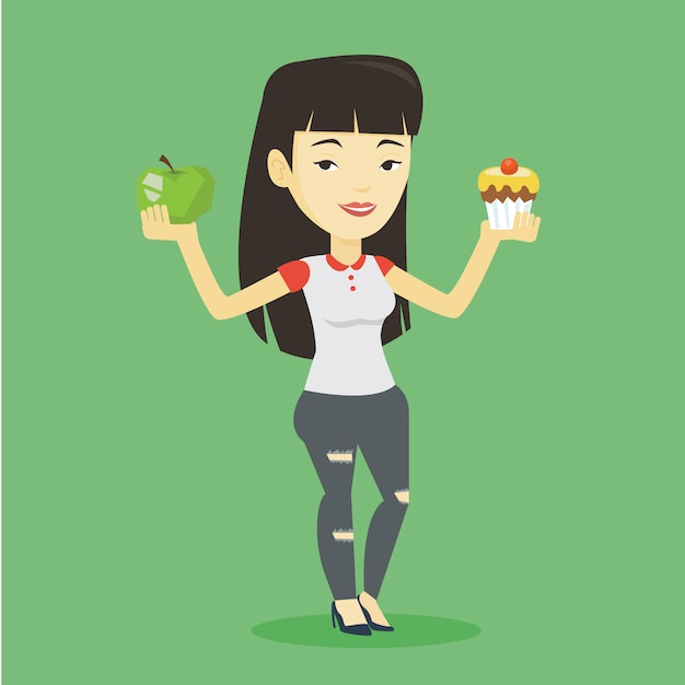 Mulher escolhendo entre apple e cupcake. Vetor Premium