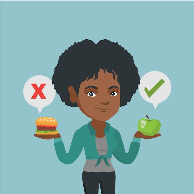 Mulher escolhendo entre hambúrguer e cupcake. Vetor Premium