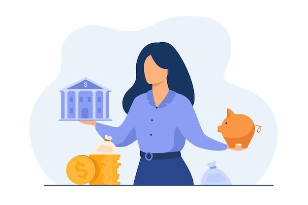Mulher escolhendo entre o banco e o cofrinho, escolhendo o instrumento para economizar, planejando o orçamento ou o empréstimo. Vetor grátis