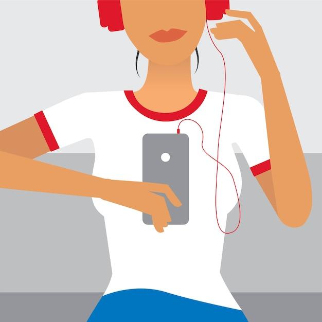Mulher, escutar música, ilustração Vetor grátis