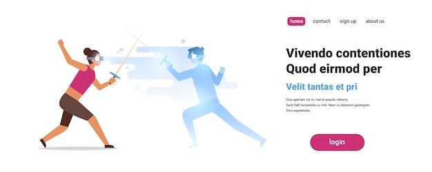 Mulher esgrimista desgaste digital vidros conceito homem com atleta realidade virtual conceito cercar inovação headset isolado Vetor Premium