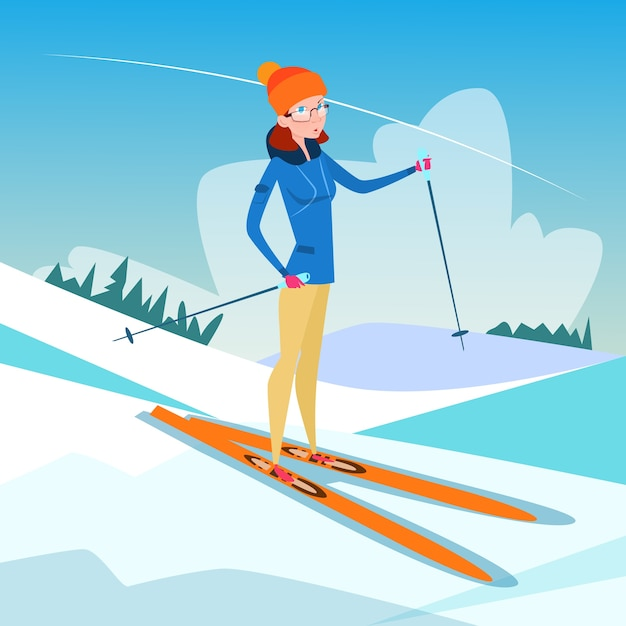 Mulher, esqui, inverno, atividade, desporto Vetor Premium
