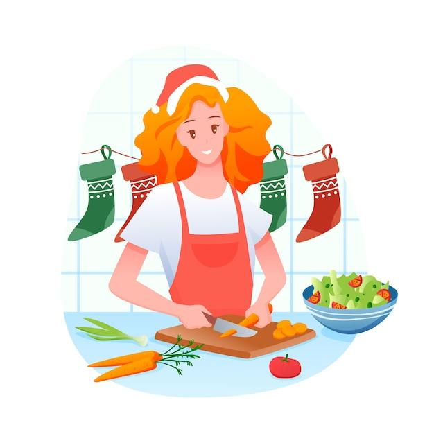 Mulher está preparando o jantar de natal, feliz natal e férias de inverno em casa Vetor Premium