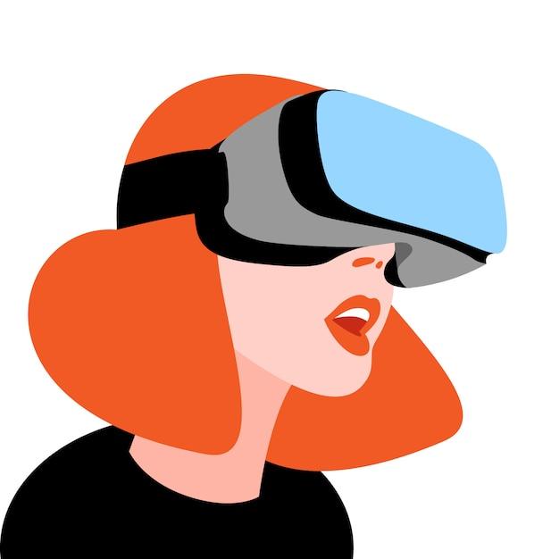Mulher excitada usando capacete de vr para simulação espacial Vetor Premium