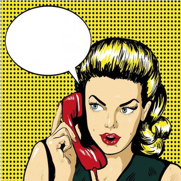 Mulher falando por telefone com bolha do discurso Vetor Premium