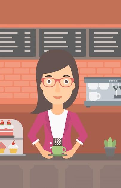 Mulher fazendo café. Vetor Premium