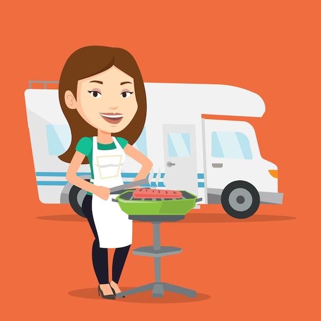Mulher fazendo churrasco na frente da van de campista. Vetor Premium