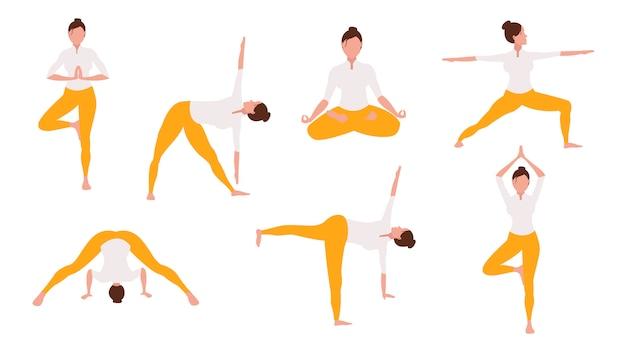 Mulher fazendo conjunto de ilustração de ioga Vetor Premium