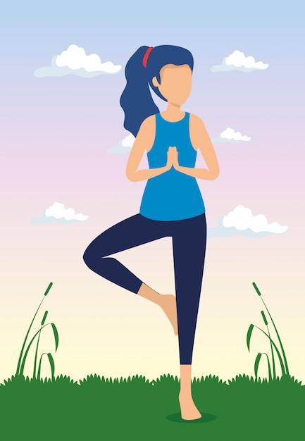 Mulher fazendo exercícios de ioga com plantas Vetor grátis