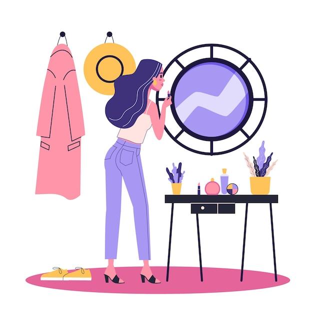 Mulher fazendo maquiagem em frente ao espelho. senhora de terno segurando batom vermelho. garota linda. ilustração em estilo cartoon Vetor Premium