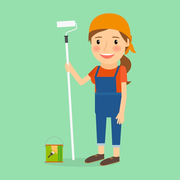Mulher, fazer, reparar Vetor Premium