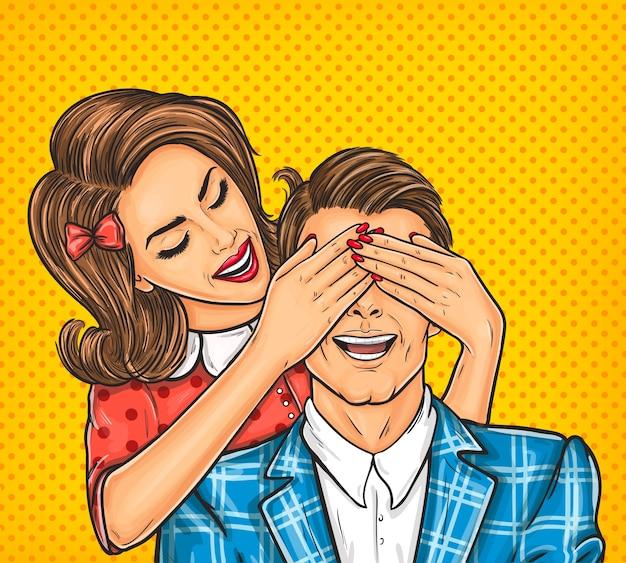 Mulher fecha os olhos para o homem dela Vetor grátis