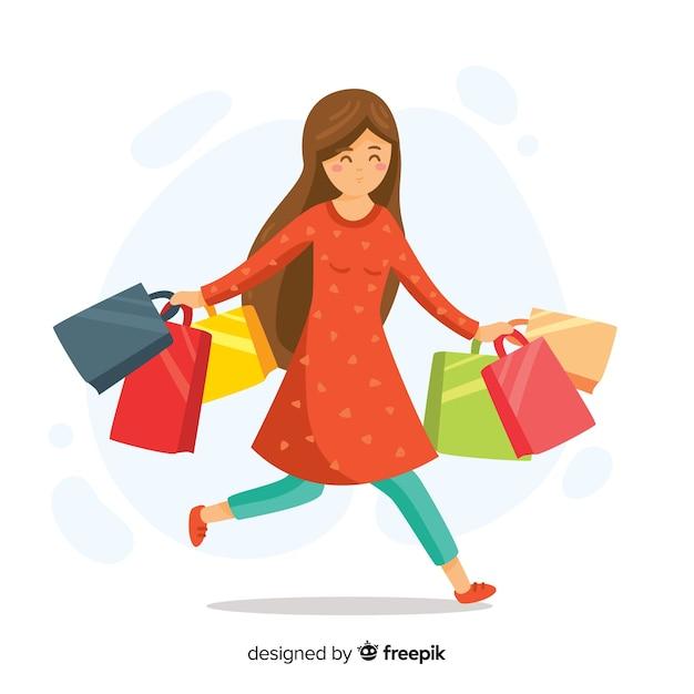 Mulher feliz, carregar, bolsas para compras Vetor grátis