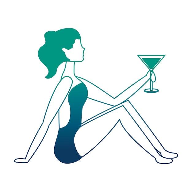 Mulher feliz em traje de banho com ilustração vetorial de coquetel Vetor Premium