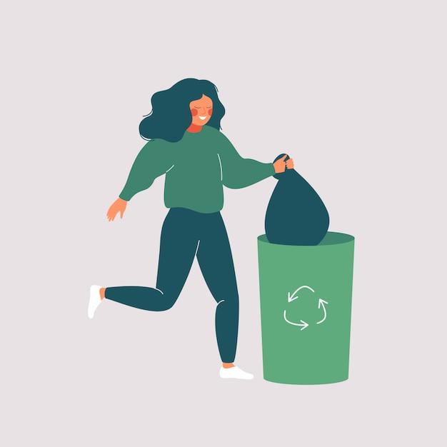 Mulher feliz joga fora o lixo na lixeira verde com símbolo de reciclagem. Vetor Premium