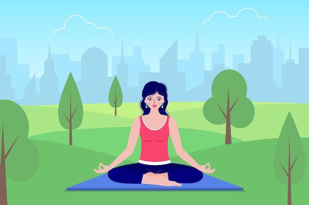 Mulher feliz medita sentado na natureza. conceito de ioga. Vetor Premium