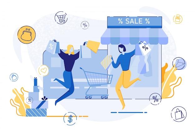 Mulher feliz pulando com sacos de compras, venda Vetor Premium
