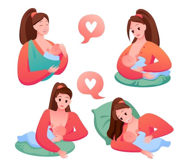 Mulher feliz segurando filho recém-nascido e amamenta, apoio para a maternidade. posições de amamentação Vetor Premium