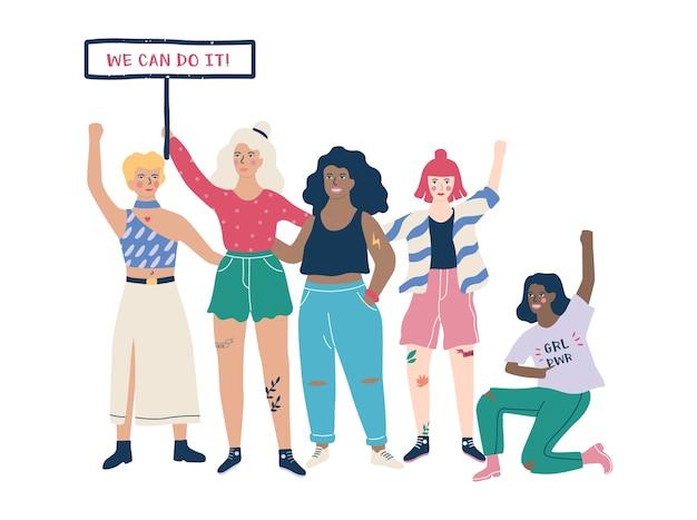 Mulher feminista, frase de poder feminino na camisa Vetor Premium