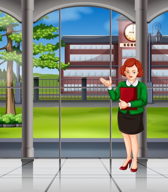 Mulher, ficar, dentro, escola Vetor grátis