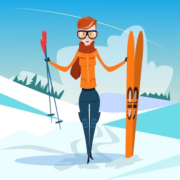 Mulher, ficar, mantenha, esqui, inverno Vetor Premium